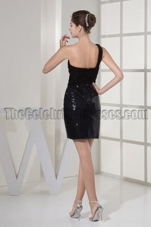 Little Black One Shoulder Short Party Homecoming Dresses