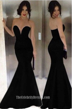 Long Black Strapless Mermaid Evening Dress Formal Gown