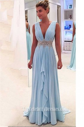 Long Sky Blue Deep V-Neck Evening Gown Prom Dress