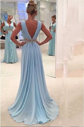 ロングスカイブルーディープVネックイブニングドレスウエディングドレス