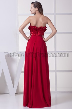 Long Red Strapless Evening Formal Dress Prom Gown