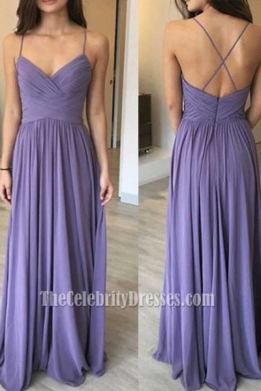 Long Spaghetti Straps Backless Chiffon Prom Gown Evening Dress