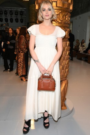 Lucy Boynton Ivory Maxi Midi Dress
