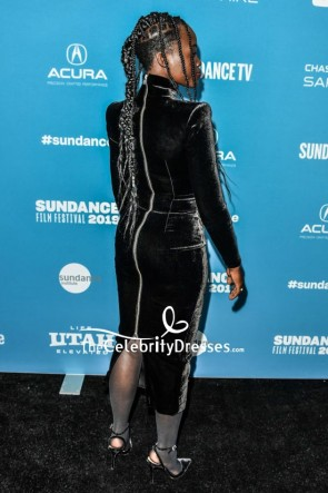 Lupita Nyong'o Black Velvet Cocktail Dress With Sleeves Sundance Film Festival TCD8273