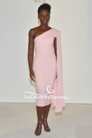 Lupita Nyong'o Pink One-shoulder Cocktail Dress  Vanity Fair and Lancome Women