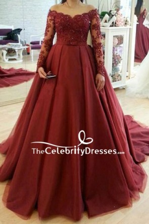 Luxury Burgundy Applique Wedding Gown With Long Sleeves