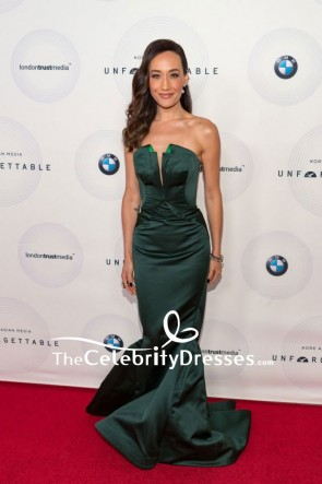 Maggie Q Dark Green Strapless Satin Sheath Dress Unforgettable Gala Red Carpet
