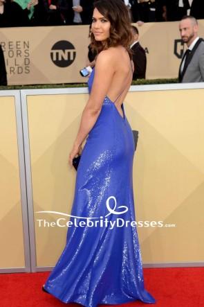 マンディムーアロイヤルブルースパゲッティストラップスパンコールのイブニングドレス2018 SAG賞レッドカーペットドレス