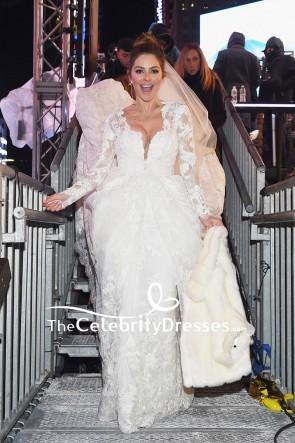 マリアメノウノス長袖の白いレースのウェディングドレスは、タイムズスクエアショーからライブ