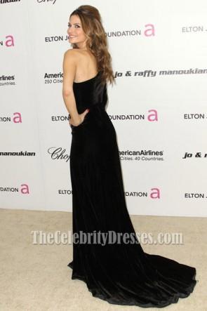 Maria Menounosオスカー黒のドレスレッドカーペットワンスリーブフォーマルドレス