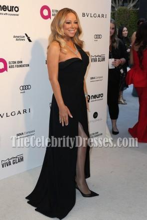 Mariah Carey マライア・キャリー ブラックワンショルダーハイスリットイブニングウエディングドレスElton John Aids Foundationのオスカー鑑賞パーティー