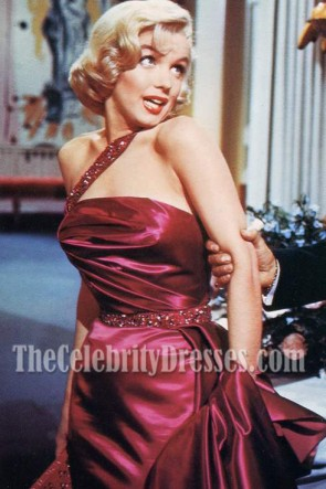 Marilyn Monroe Gorgeous Beads One Shoulder Evening Prom Gown How to Marry a Millionaire