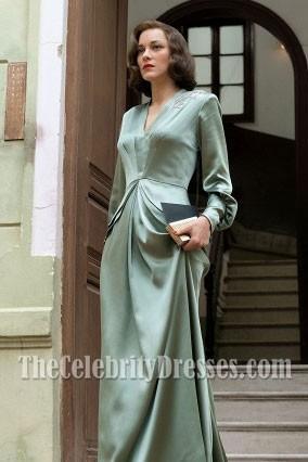 同盟の映画の中で長袖のマリオンコティヤード刺繍イブニングドレス