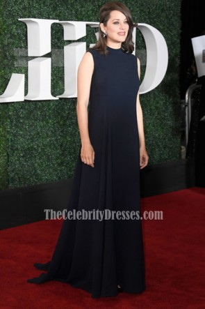 Marion Cotillard マリオンコティヤール ブルーノースリーブのイブニングウエディングドレスのパラマウントピクチャーズ「アライド」