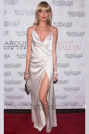 Martha Hunt マーサハント セクシーな背中が大きく開いハイスプリットイブニングドレスセレブドレス