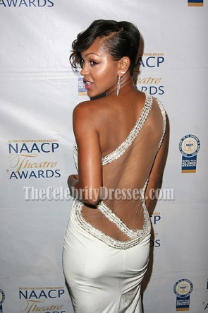 Meagan Good セクシーな白いイブニングドレスNAACP Theatre Awards