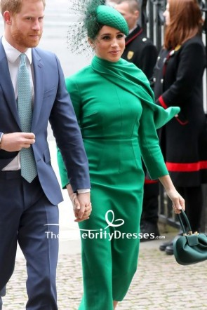 Meghan Markle  Green Caped Midi Dress 2020 Commonwealth Day Service TCD8879