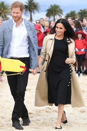Meghan Markle Black Midi Dress In Royal First Tour