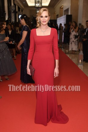 Melanie Griffith Red Square Neckline Long Evening Dress Long Sleeves gown Global Gift Gala Red Carpet Gown