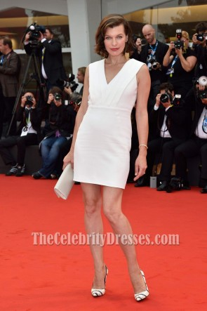 MILLA JOVOVICH White Cocktail Dress Cymbeline Premiere at Venice Film Festivel
