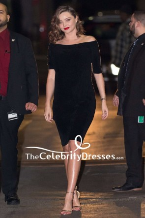 Miranda Kerr Black Off-the-shoulder Short Party Dress Jimmy Kimmel Live