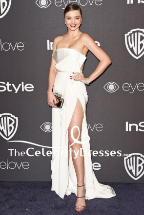 Miranda Kerrアイボリーストラップレスの腿の高いスリットイブニングドレス2017ゴールデングローブパーティー