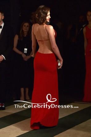 ミランダ・カー赤急落カットイブニングドレス2016バニティフェアオスカーパーティーの後