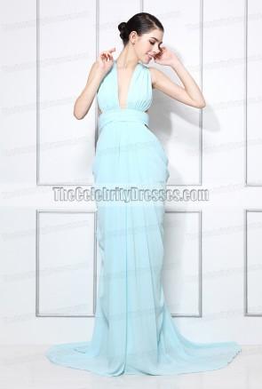 Miranda Kerr スタイル賞のミランダカーライトブルーホルタープロムのイブニングドレス2012女性