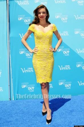 Miranda Kerr Yellow Short Lace Cocktail Party Dresses