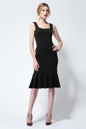 Knee Length Black Mermaid Cocktail Party Dress TCDMU0013