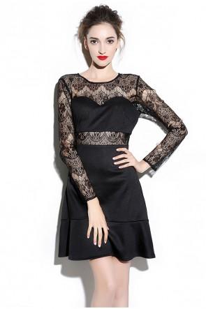 Sexy Long Sleeves Little Black Dress TCDMU0034
