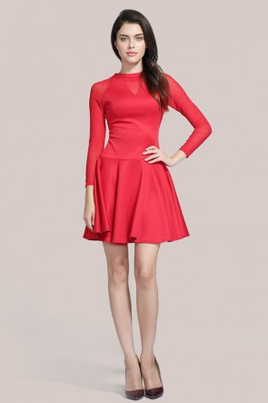 Red Long Sleeve Party Homecoming Dress TCDMU0039