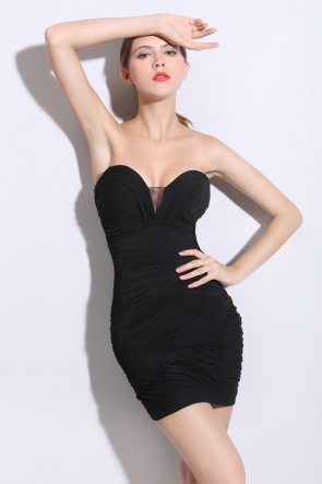 Sexy Mini Strapless Little Black Dress TCDMU0051