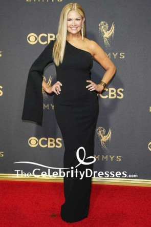 Nancy O'Dell Black One-shoulder Long Simpler Column Evening Dress 69th Annual Primetime Emmy Awards