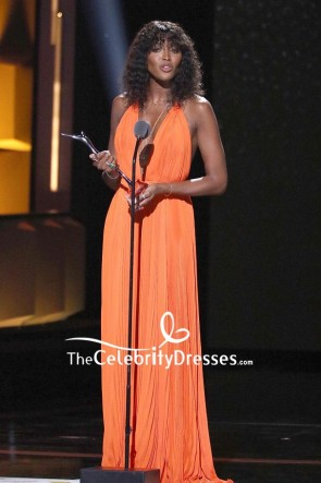 Naomi Campbell Orange Plunging Halter Sexy Evening Dress 2018 Black Girls Rock! Event