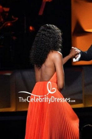 Naomi Campbell Orange Plunging Halter Sexy Evening Dress 2018 Black Girls Rock! Event TCD8025
