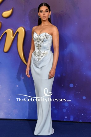 Naomi Scott Light Sky Blue Strapless Beaded Corset Dress European Premiere of 'Aladdin'