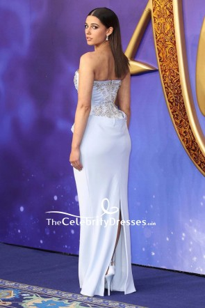 Naomi Scott Light Sky Blue Strapless Beaded Corset Dress European Premiere of 'Aladdin' TCD8408
