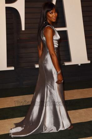 Naomi Campbell ナオミキャンベル 2016バニティフェアオスカーパーティーシルバーワンショルダーイブニングウエディングドレス