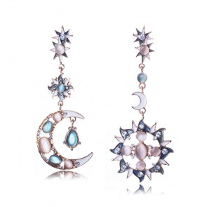 New Arrival Asymmetrical Sun and Moon Drop Earrings TCDE0055