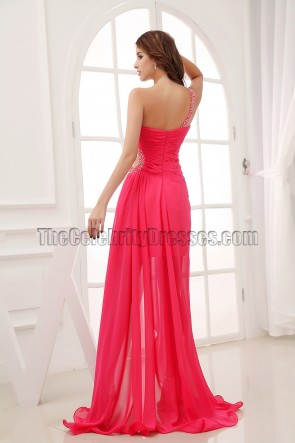Hot Pink One Shoulder Cut Out Prom Dress Evening Gown
