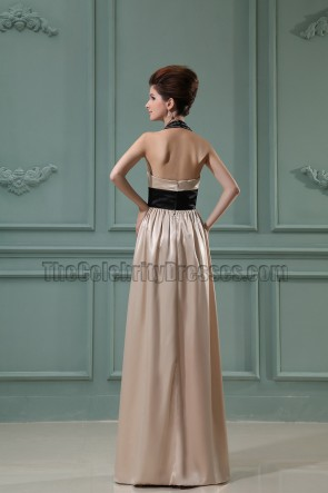 Champagne Halter Prom Dress Evening Formal Dresses