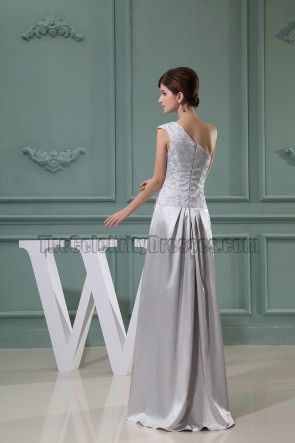 Silver Floor Length One Shoulder Prom Dress Formal Evening Dresses