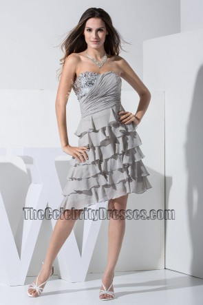 New Style Silver Chiffon Strapless Cocktail Dress Party Dresses