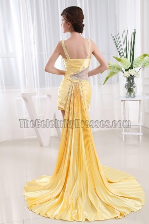 Chic Yellow Beaded High Low Cocktail Party Dresses Prom Gown