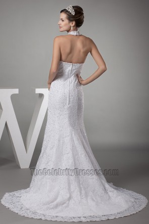 Trumpet /Mermaid Halter Lace Wedding Dresses