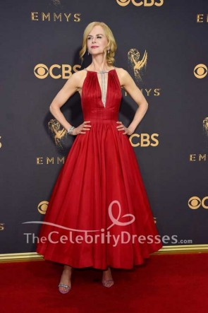 Nicole Kidman Dark Red Deep V-neck Plunging Ball Gown Dress Emmy Awards 2017 Red Carpet