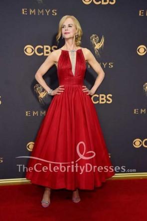 Nicole Kidman Dark Red Deep V-neck Plunging Ball Gown Dress Emmy Awards 2017 Red Carpet
