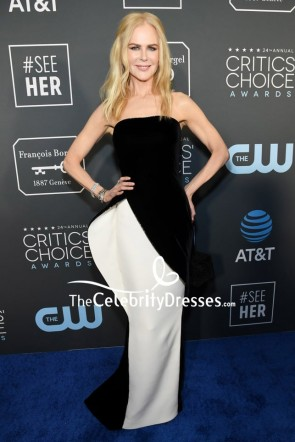 Nicole Kidman Strapless White And Black Evening Dress Critics' Choice Awards 2019