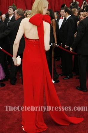 Nicole Kidman ニコールキッドマンレッドホルターフォーマルドレスオスカーアワード2007レッドカーペット